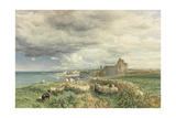 Sea Coast with Castle, Sheep and Shepherd (Watercolour and Scratching Out on Paper) Giclee Print by Samuel Bough