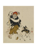 (Monkey Trainer and Dog), Mid to Late 19th Century Giclee Print by Shibata Zeshin