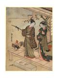 Engawa No Wakashu to Onna Giclee Print by Suzuki Harunobu