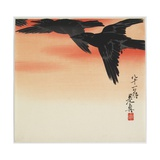 Crows Flying at Sunset, C. 1888 Giclee Print by Shibata Zeshin