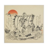 The Seven Gods of Good Fortune in Treasure Ship, C. 1887 Giclee Print by Shibata Zeshin