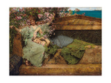 In a Rose Garden Giclee Print by Sir Lawrence Alma-Tadema