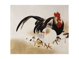 Cockerel, Hen and Chicks, 1892 (Hanging Scroll, Colored Lacquer on Prepared Paper) Giclee Print by Shibata Zeshin