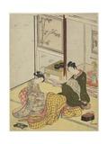 Perfuming a Robe as a Mitate of the Fpur Elegant Pastimes, Autumn 1767 Giclee Print by Suzuki Harunobu
