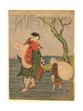 Musume O Seotte Kawa O Wataru Hotei Giclee Print by Suzuki Harunobu