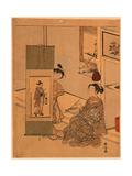 Okumura Masanobu No Kakejiku O Miru Yujo Giclee Print by Suzuki Harunobu