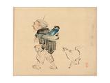 Saruhiki to Inu Giclee Print by Shibata Zeshin