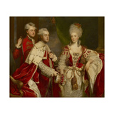 George, 2nd Earl Harcourt, His Wife Elizabeth, and Brother William, 1780 Giclee-trykk av Sir Joshua Reynolds