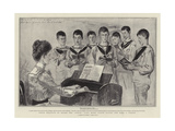 Choir Practice on Board the Ophir, Lady Mary Lygon Giving the Boys a Lesson Giclee Print by Sydney Prior Hall