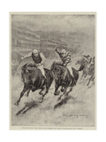 The Race for the St Leger, Defeat of Lord Rosebery's Colt Ladas by Lord Alington's Filly Throstle Giclee Print by Stanley Berkeley