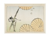 Bamboo, Umbrellas, a Cat and Butterflies, C. 1877 Giclee Print by Shibata Zeshin