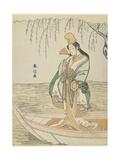 Woman in an Asazuma Boat in the Guise of Shirabyoshi, C. 1767 Giclee Print by Suzuki Harunobu
