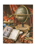 Still Life with a Globe, Books, Shells and Corals Giclee Print by Simon Renard De Saint-andre