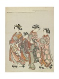 Courtesan with Attendants on Parade, after 1766 Giclee Print by Suzuki Harunobu