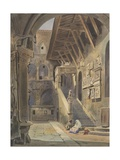 Court of the Bargello, Florence, 1839 (W/C with Ink and Pencil on Paper) Giclee Print by Thomas Hartley Cromek