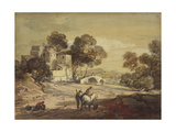 Italianate Landscape with Travellers on a Winding Road Giclee Print by Thomas Gainsborough