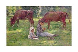 Watching the Cows Giclee Print by Theodore Robinson
