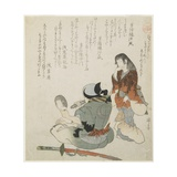 (Woman Looking at the Man with Mirror and Sword), C. 1816-1819 Giclee Print by Teisai Hokuba