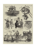 The Oxford and Cambridge Boat Race, Notes from the Press Boat Giclee Print by Sydney Prior Hall
