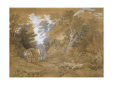 Wooded Landscape with a Peasant Boy Asleep in a Cart (Watercolour and Bodycolour over Faint Indicat Giclee Print by Thomas Gainsborough