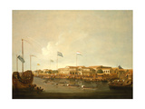 The Hongs at Canton from the South East, with a Regatta on the Pearl River Lámina giclée por Thomas Daniell