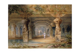 The Interior of the Great Cave, Elephanta, Bombay, 19th Century (Pencil, W/C) Giclee Print by Thomas J. Rawlins