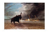 Elephant in Shallow Waters of Shire River, 1859 Giclée-tryk af Thomas Baines
