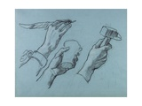 Trois Etudes De Mains (Three Studies of Hands), C. 1876 Giclee Print by Thomas Couture
