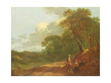 Wooded Landscape with a Man Talking to Two Seated Women Giclee Print by Thomas Gainsborough