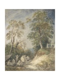 Wooded Landscape with Gypsy Encampment, C.1760-65 (W/C and Gouache over Pencil and Chalk on Paper) Giclee Print by Thomas Gainsborough