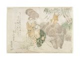 O Hara Wood Sellers and a Child on a Cow Giclee Print by Teisai Hokuba