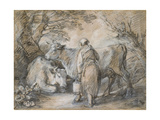 Milkmaid with Two Cows (Black Chalk and Stump Heightened with White Giclee Print by Thomas Gainsborough