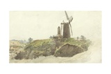 Landscape with Windmill Giclee Print by Thomas Creswick
