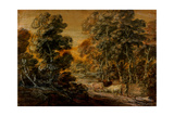Wooded Landscape with Herdsman and Cattle, C.1770 (Black and White Chalk, Varnished) Giclee Print by Thomas Gainsborough