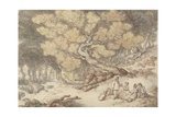 A Woodcutter's Picnic Giclee Print by Thomas Rowlandson