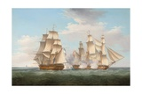 H.M.S. Ethalion in Action with the Spanish Frigate Thetis Off Cape Finisterre Giclee Print by Thomas Whitcombe