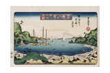 Returning Ships, Kanazawa', from the Series 'Eight Views of Famous Places' Giclee Print by Toyokuni II