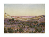The Hills of Moab and the Valley of Hinnom, 1854 (Watercolour and Bodycolour) Giclee Print by Thomas Seddon