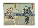 Ichimura Kakitsu I as Chokichi, Kawarasaki Gonjuro I as a Gallant, January 1866 Giclee Print by Toyohara Kunichika