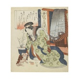 Courtesan with a Pekinese Dog Giclee Print by Toyota Hokkei