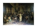 Psychiatrist Philippe Pinel (1745-1826) Releasing Insane from their Chains at Salpetriere Asylum in Giclée-Druck von Tony Robert-fleury