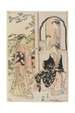 Four Women in Mitate as Ushiwaka Serenading Jo-Ruri-Hime, 1785 Giclee Print by Torii Kiyonaga