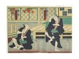 Sawamura Tossho II as Kinohei and Ichimura Kakitsu I as Kippei, May 1865 Giclee Print by Toyohara Kunichika