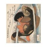 Kaidomaru Wrestling a Carp in a Cascade Giclee Print by Toyota Hokkei