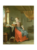 Young Girl Seated before a Window Giclee Print by Thomas Wyck