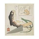 Globefish, Leek and Cooking Knife Giclee Print by Toyota Hokkei