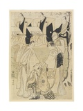 (Scene from a Kabuki Play with Musicians and Three Actors), 1781-1789 Giclee Print by Torii Kiyonaga