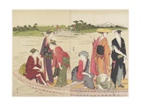 Ferryboat on the Rokugo River, 1784 Giclee Print by Torii Kiyonaga