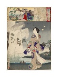 Lady Iga and the Ghost of Sasaki Kiyotaka, 1886 Giclee Print by Toyohara Chikanobu