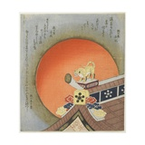 Tiger on Roof Giclee Print by Toyota Hokkei
